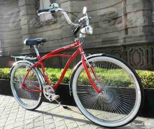 Bicicleta Vintage O Retro Cruiser R26 Rojo / Cromo 144 Rayos