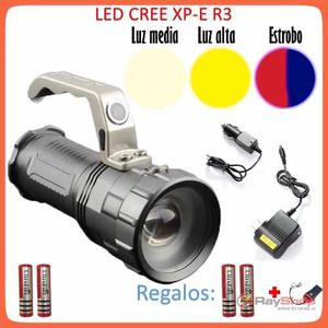 Lampara Tactica  Lumens Cree Led R3 Recargable Dt57