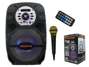 Bocina Amplificada Portatil 8 Draco's Bluetooth Fm Usb Sd