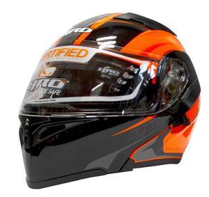 Casco Abatible Para Moto Hro Kefrex Naranja Negro