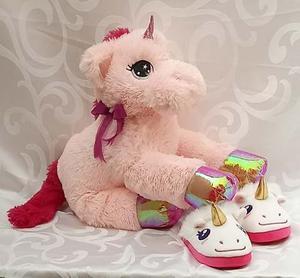 Unicornio Peluche 60 Cm Mas Pantunflas De Unicornio