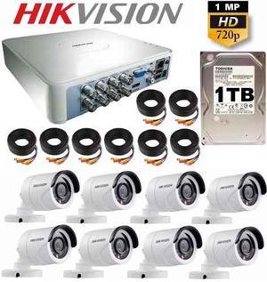 Kit Circuito Cerrado 8 Cámaras Hd 720p Cctv Hikvision 1 Tb