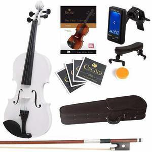 Violin Mendini 4/4 Blanco Con Accesorios Tuner Gratis