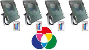 Reflectores Led 10w Rgb Multicolor Kit De 4 Unidades