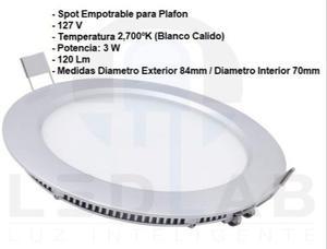 Spot Empotrable Para Plafon Panel Led 3w 7cms Blanco Calido