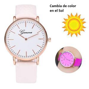 Reloj Cambia Color En Sol Moda Mujer Moda Piel Vinil A971