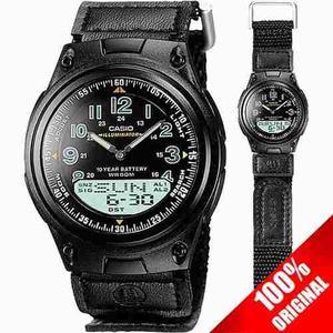 Reloj Casio Aw80 Lona Negro - 30 Memorias - Sumergible