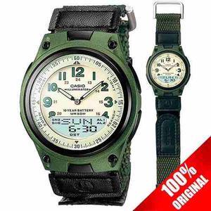 Reloj Casio Aw80 Lona Verde - 30 Memorias - Sumergible
