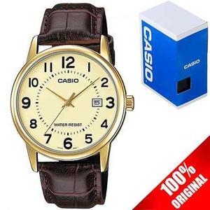 Reloj Casio Mtpv001 Piel Cafe Cara Dorada Cristal Mineral