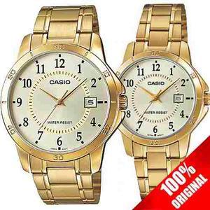 Reloj Casio Mtpv004 + Ltp V004 Acero Fechador Pareja Ideal