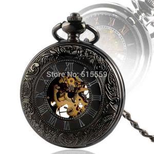 Reloj De Bolsillo Tipo Vintage Negro Mecanico De Cuerda