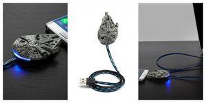 Star Wars Cable De Carga Microusb Millennium Falcon Con Luz