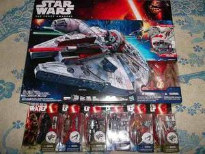 Star Wars Halcon Milenario Y 6 Figuras Kylo Luke Phasma Bb8