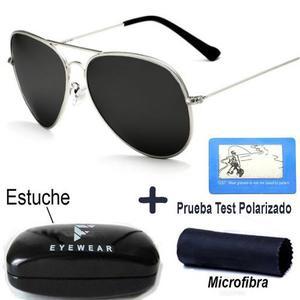 Lentes De Sol Aviador Polarizados Gota Mediana Plata Gafas
