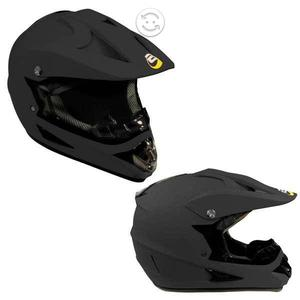 Casco Tipo Cross Negro Mate Certificacion Dot Tall
