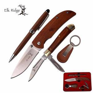 Set De 2 Cuchillos, Pluma Y Llavero Elk Ridge Para Regalo