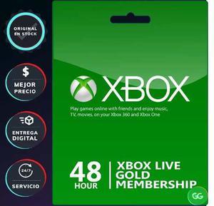 Xbox Live Gold 48 Horas Membresia 2 Días Código One Y 360