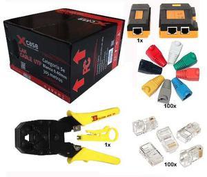 Kit Bobina Cable Red Utp 5e Pinzas Tester Plug Botas Rj45