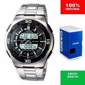 Reloj Casio Aq 164 Metal - Cronómetro De 60 Lapsos - Cfmx