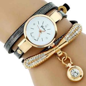 Reloj Pulsera Brazalete Oro Mujer Cristal Mayoreo Pieza A469