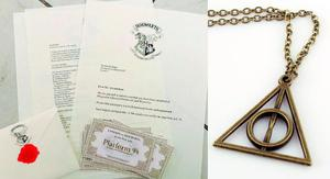 Collar Reliquias De La Muerte Y Carta Hogwarts Harry Potter