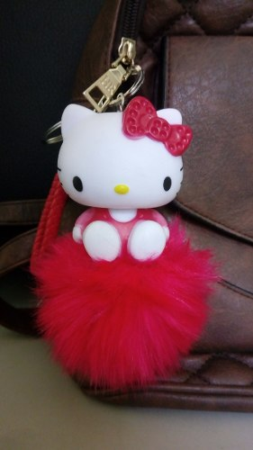 Llavero Charm Hello Kitty Pompon Pink Red Gato Sanrio Plush