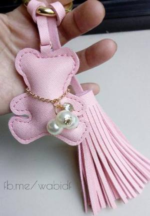 Llavero Osito Borla Grande Pink Perlas Moda Cuero Tous Charm