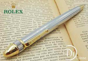 Pluma Rolex President Lineas Acero/oro King Tinta Negra