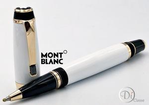 Pluma Rollerball Montblanc Boheme White Gold /cristal Negro
