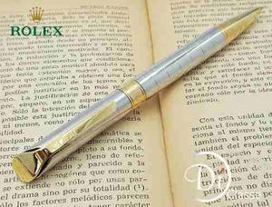 Pluma Rollerball Rolex Day Just Acero/dorado Tinta Azul