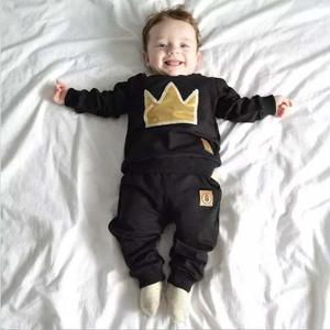 Pants Negro Corona Dorada Para Bebé / Niño