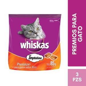 Kit Whiskas Premios Gato Temptations 85g Alimento Seco Res