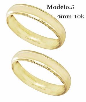 Argollas De Matrimonio 4mm Par! Anillos De Boda Oro De 10k