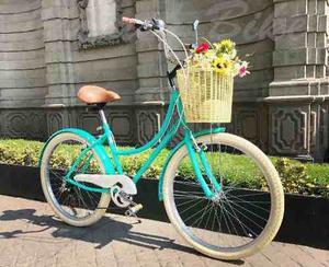 Bicicleta Retro O Vintage Estilo Holandes Verde Agua