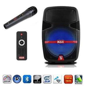 Cajon Bocina Bafle Amplificado Ksr Bluetooth Control Microfo