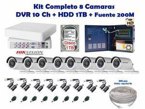 Kit 8 Camaras Hikvision Cctv Hd 720p Disco 1 Tb Cable 200mts