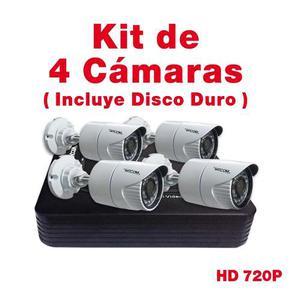 Kit Cctv Vigilancia 4 Cam Metal 720p Disco Duro 500gb Microf