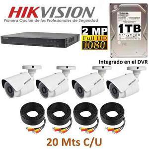 Kit Circuito Cerrado 4 Cámaras Hd p Cctv Hikvision 1 Tb