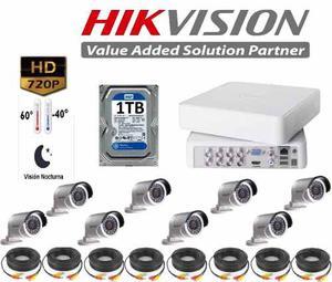 Kit Circuito Cerrado 8 Cámaras Hikvision Hd 720p Cctv 1 Tb
