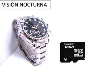 Reloj Metal Espía Visión Nocturna 12mp Hd 16gb Envío