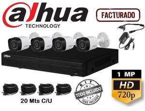 Kit Circuito Cerrado 4 Camaras Video Vigilancia Dahua Hd