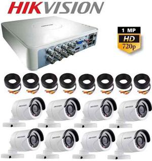 Kit Video Vigilancia 8 Cámaras Hikvision Hd 720p Cctv