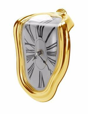 Reloj Blando Dorado Estilo Surrealista Salvador Dali