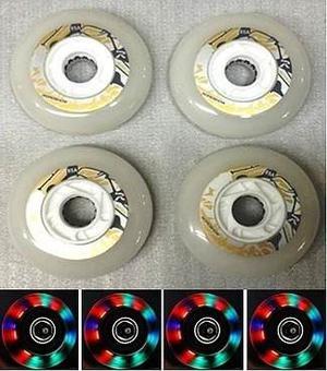 Set 4 Llantas Para Patin En Linea 80mm Led Multicolor
