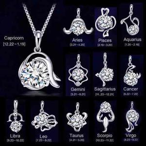 Collar Y Dije Plata.925 Signo Zodiaco Constelación Mujer