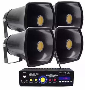 Kit Perifoneo Voceo Amplificador Publidifusion 4 Trompetas