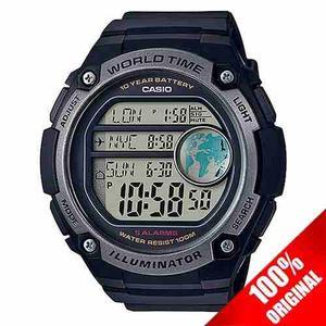 Reloj Casio Ae Caja Grande Cronometro Hora Mundial