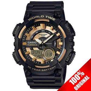 Reloj Casio Aeq110 Dorado - 30 Memorias Hora Mundial