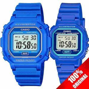 Reloj Casio F108 + La20 Caucho Azul Pareja Ideal Para Regalo