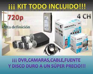Kit Cctv Dahua 4ch Xvrcns2kit Inc D/duro Cam Metal 720p